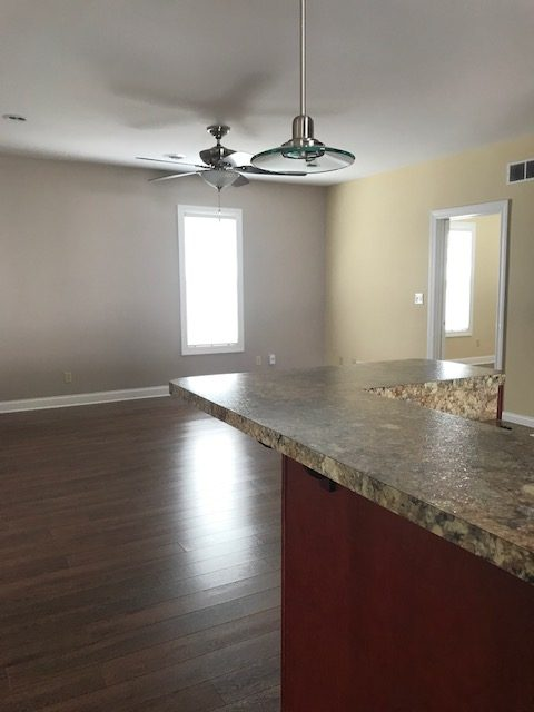 Kitchen, open to Living room